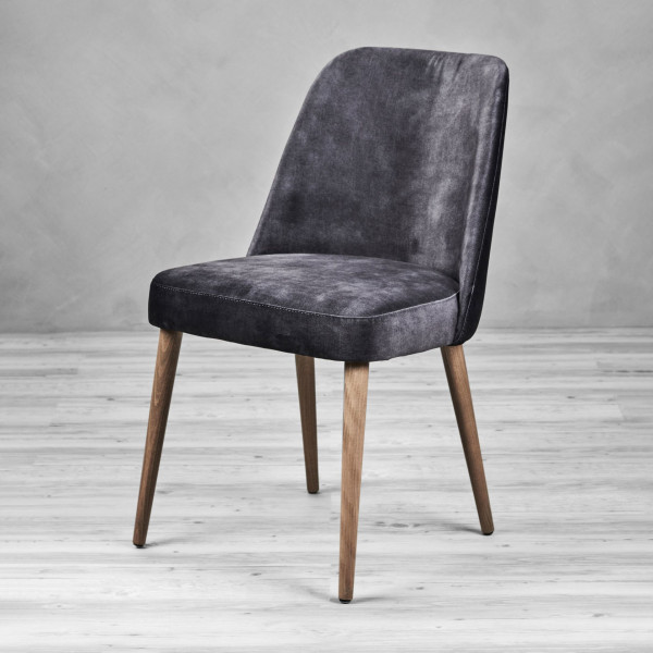 Stuhl Naticca Velvet Esszimmerstuhl Polsterstuhl Samt Bezug in Schwarz Sessel Stuhlbeine natur lackiert