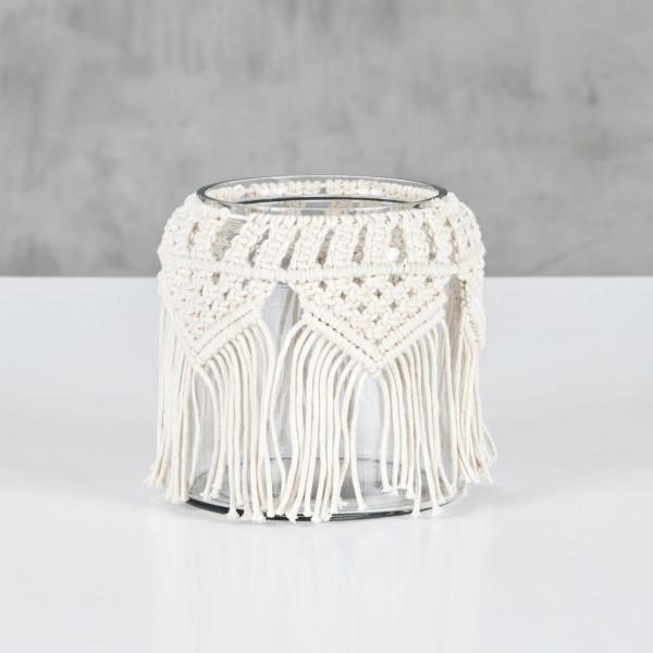 Teelichthalter Miloja ein Teelichtglas mit Makramee Hülle aus 100 % Baumwolle Durchmesser 15 cm Höhe 15 cm