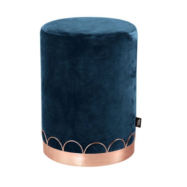 Design Pouf Sitzhocker Ibsalba kupferfarbener Eisen-Fuß pulverbeschichtet 100% Cotton Samt-Stoff in Pacific Blue