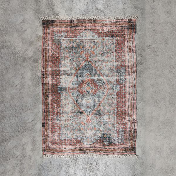 Teppich Semalia im Perserteppich Used Look handgewebt mit Kelim Ornamenten bedruckt Material Chenille Baumwolle Länge 240 cm Breite 150