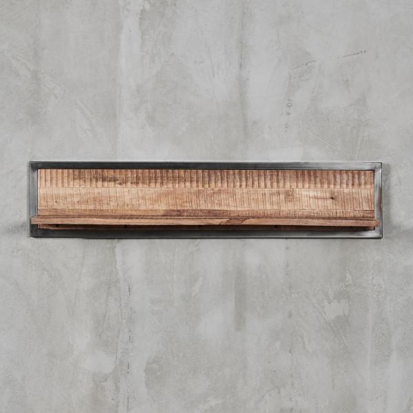 Wandregal Thorkas  aus Mangoholz - Industrial-Style Breite 160 cm mit  Eisenrahmen