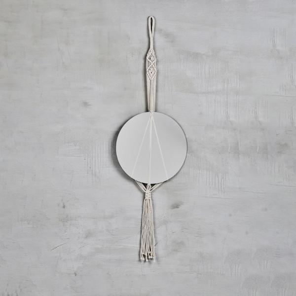 Wandspiegel Mashou Spiegel mit Makramee Aufhängung aus 100 % BaumwollGarn Höhe 120 cm Spiegelglas Durchmesser 36 cm