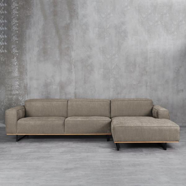 Pinorja 2 Ecksofa für 4 Personen Farbe  Taupe grau braun Material Beine und Rahmen Massive Buche und lackierter Stahl mit Récamière auf der rechten Seite Sofa-Bezug 92 % Polyester 8 % Viskose Couch Polsterung aus Schaumstoff mit Wellenunterfederung