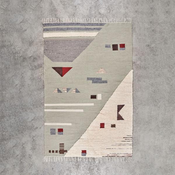 Teppich Askarja handgewebter hochflor und flachgewebter Teppich Länge 230 cm Breite 160 cm zeitgenössisches Patchwork Design