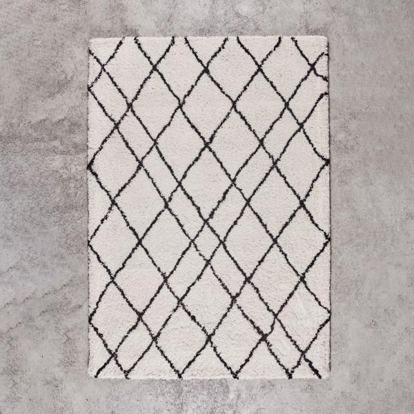 Hochflor Teppich Linelia weich mit Rauten Look getuftet in zwei Größen Breite 160 cm Tiefe 230 cm oder Breite 200 cm Tiefe 300 cm