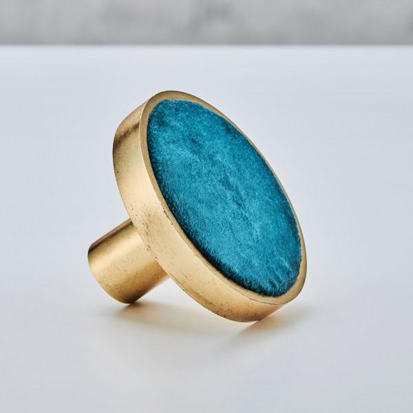 Wandhaken Lalibra Garderobenhaken Scheibe aus goldfarben galvanisiertem Aluminium Durchmesser 8,5 cm Tiefe 5,5 cm mit Samtstoff Bezug Farbe Blau Pacific Blue