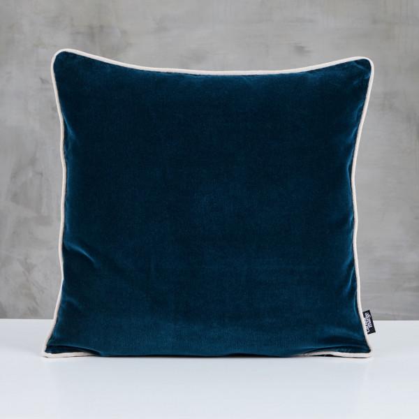 Kuschelkissen Daskia Polster Kissen  mit Kantenpaspel in Ivory Elfenbein und Samt Bezug in Pacific Blue aus 100 % Baumwolle Länge 50 cm Breite 50 cm