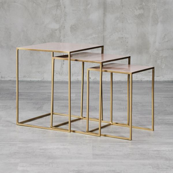 Beistelltisch Frela 3er Set goldfarben galvanisierte Eisengestelle und Eisen-Email-Tischplatten in Mahagony Rose Maße Tisch 1 Höhe 50 cm Breite 40 cm Tiefe 40 cm