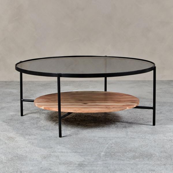 Couchtisch bzw. Beistelltisch Solindra Tischplatte aus gefärbtem Glas Akazienholz Ablagefläche in Natur  pulverbeschichteter Eisenrahmen in Schwarz Durchmesser 95 cm Höhe 38 cm