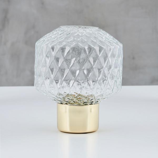 Blumenvase Lazissa mit Messingfuß und aus klarem Kristallglas Vase Größe Durchmesser 18 cm Höhe 23 cm
