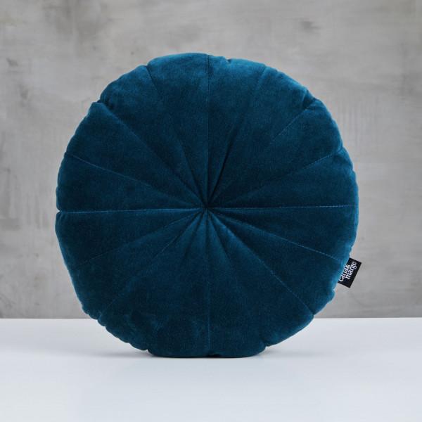 Polster Mimmja Rosetten Stil Kissen Bezug aus Samt 100 % Baumwolle in Pacific Blue Durchmesser 43 cm