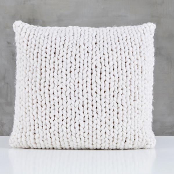 Kissen Pelma Wolle Sofakissen Farbe Cream handgestrickt Tiefe 45 cm Breite 45 cm