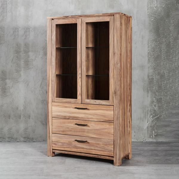 Vitrine Jenko 4 mit modernem, geradlinigem Design und edlem Sheesham-Furnier, drei Schubladen, zwei Glastüren mit je zwei Glaseinlegeböden