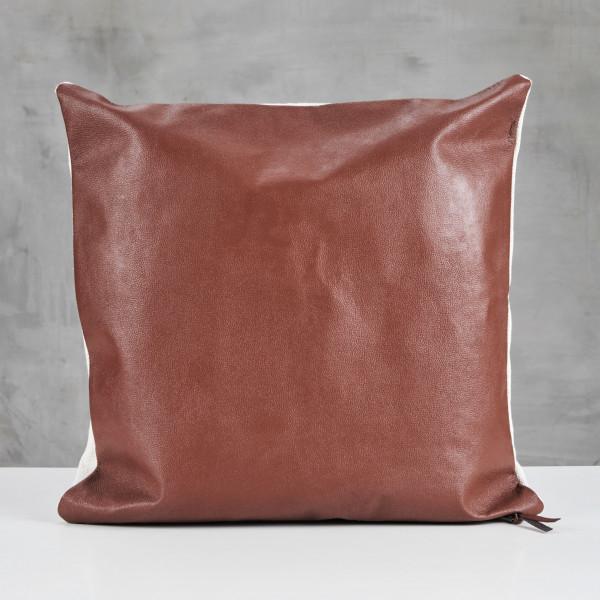 Couchkissen Fengiola Leder Kissen Design im Natur Stil Vorderseite aus Büffelleder und Rückseite aus 100 % Baumwolle Sofakissen Höhe 50 cm Breite 50 cm