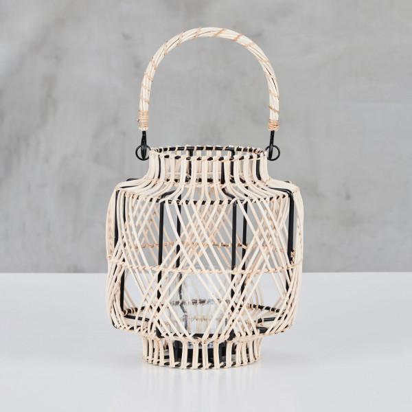 Henkel Laterne Kassabra Windlicht Rahmen aus lackiertem Eisen Rattan und Glas Durchmesser 23 cm Höhe 25 cm
