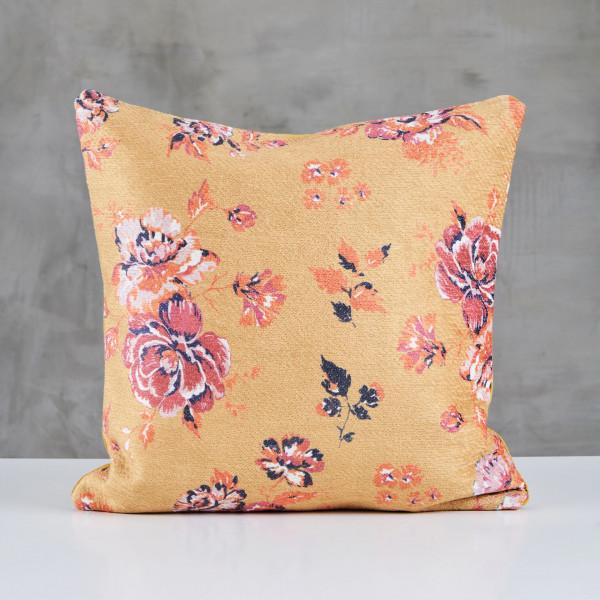 Zierkissen Madrelia Designer Kissen bedruckt mit Naturmotiv Blüten Blumen Knospen und Blättern Sofakissen Kantenlänge 45 cm