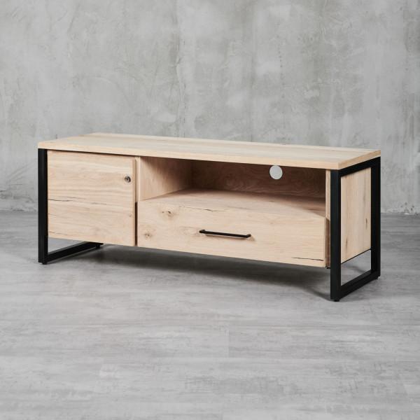 TV-Lowboard Jondrik im Industrial Style mit einem Eisengestell und edlem Eichenholzfurnier eine Tür (Anschlag links) mit einem Einlegeboden ein offenes Fach eine Schublade