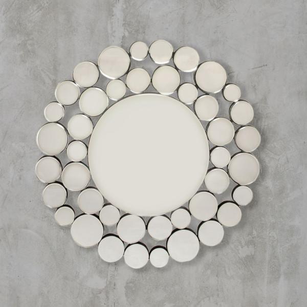 Madiola Wandspiegel aus vielen Teil Spiegeln Durchmesser 80 cm aus Spiegelglas und silberplattiertem Eisen Gestell