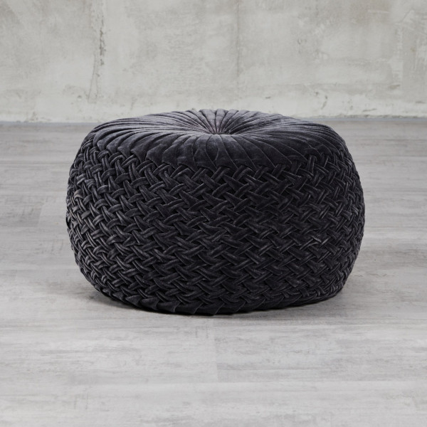 Pouf Bimela Design Hocker Höhe 35 cm Durchmesser 50 cm Hülle Samt Farbe Night Grey aus 100 % Baumwolle