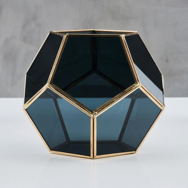 Windlicht Galeba Laterne Teelichthalter Dodekaeder aus grau gefärbtem Glas und poliertem Messing Durchmesser 19,5 cm Höhe 23,5 cm