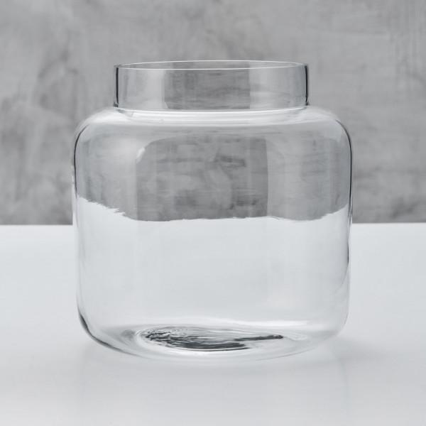 Blumenvase Ganella klare Glas Vase zylinderförmig mit breitem Hals Durchmesser 22 cm Höhe 22 cm