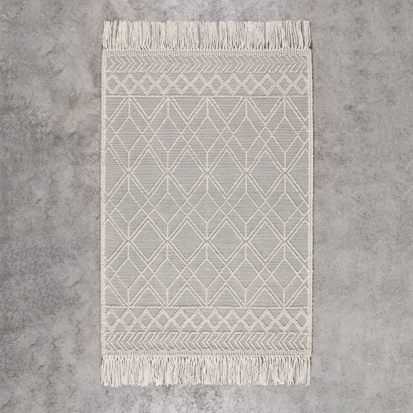 Webteppich Ralma Breite 160 cm Tiefe 230 cm Teppich-Material aus 80 % Wolle und 20 % Baumwolle mit erhabener Oberflächen Struktur