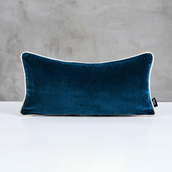 Sofakissen Daskia Polster Kissen in Pacific Blue mit Vorstoß in Ivory Elfenbein und Samt Bezug aus 100 % Baumwolle Länge 25 cm Breite 50 cm