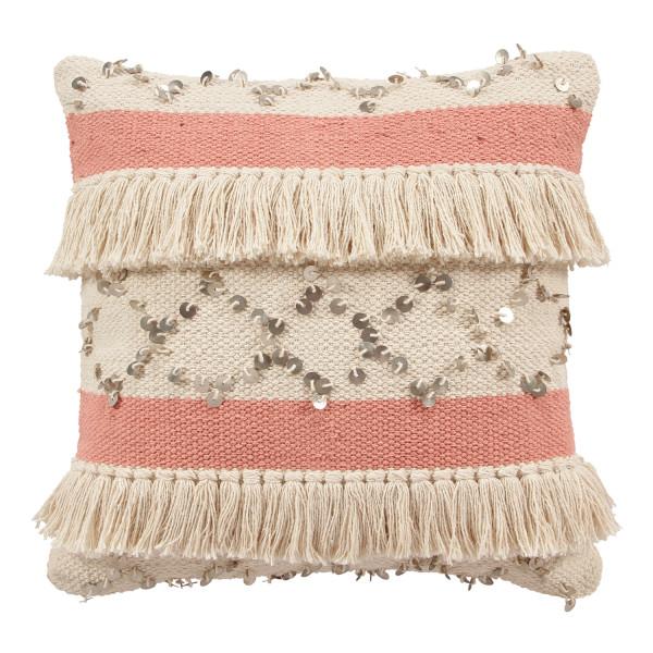 Kissen Gresja Boho Design Polster Dekokissen mit Fransen und Pailletten aus 100 % Baumwolle Farbe Beige und Rosé Breite und Länge 45 cm