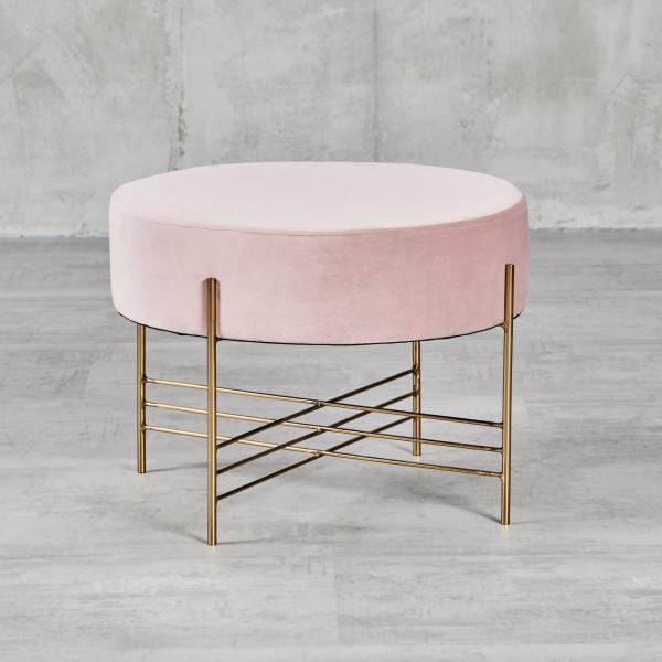 Pouf Darita Sitzhocker mit Samt-Bezug in Mahagony Rose Rahmen aus goldfarben galvanisiertem Stahl Durchmesser 52,5 cm Höhe 39 cm rundes Design