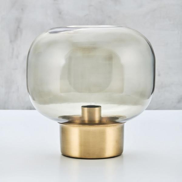 Tischlampe Samette mit klarem Lampenschirm aus Glas und einem Leuchten-Fuß aus Messing Durchmesser 28 cm und Höhe 28 cm
