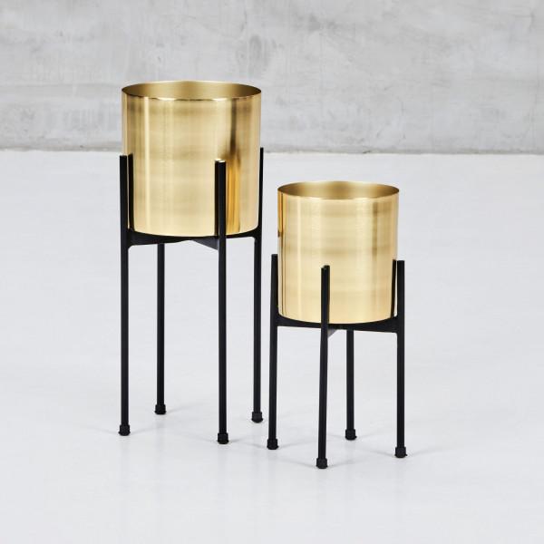 Blumenständer zweier Set Svagda Pflanzenständer aus Eisen 2 goldfarben galvanisierte Pflanzenschalen und schwarz pulverbeschichtete Gestelle