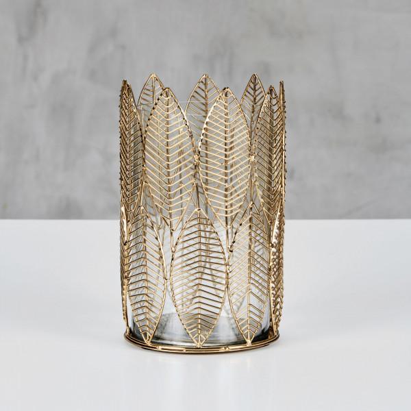 Teelichthalter Meleta filigrane Eisen-Struktur in Blatt Optik goldfarben galvanisiert mit Glasbecher Durchmesser 14,5 cm Höhe 23,5 cm