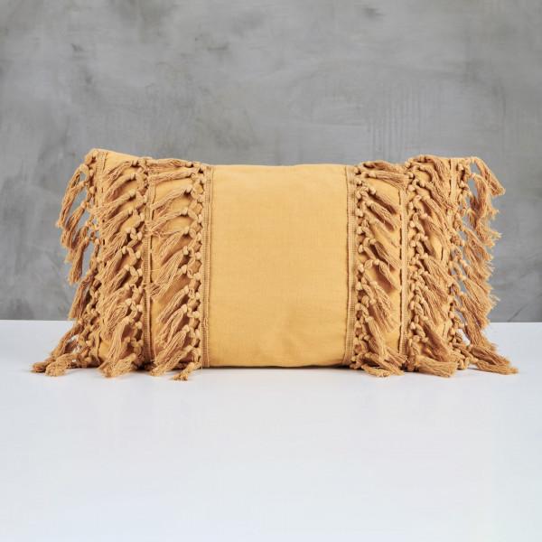 Sofakissen Lilliola Fransen Kissen aus 100 % Baumwolle Farbe Mustard Gold Boho Style Breite 50 cm Tiefe 30 cm Leicht zu reinigen