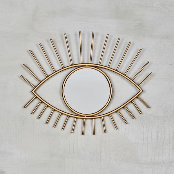 Wandspiegel Horette Spiegel in Augenoptik goldfarben galvanisiertes Eisen Höhe 39 cm Breite 50 cm  mit kreisförmigen Spiegelglas