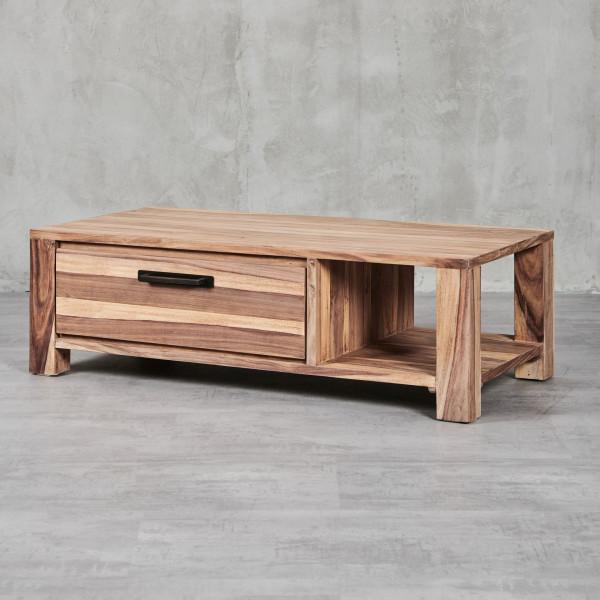 Couchtisch Jenko 2 mit modernem, geradlinigem Design und edlem Sheesham-Furnier, einer Schubladen und einer Ablagefläche