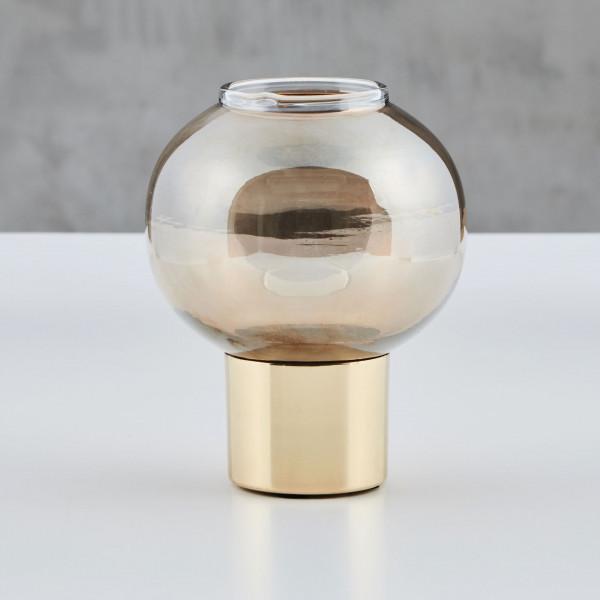 Teelichthalter Welene Teelichtglas braun gefärbte Glaskugel mit Messing Fuß Durchmesser 12 cm Höhe 15 cm