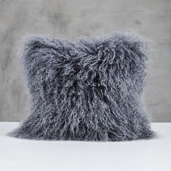 Dekokissen Lollemar Polster in Night Grey flauschiges Kissen Bezug aus Lammfell Höhe 40 cm Breite 40 cm