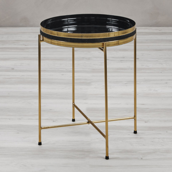 Sofatisch Chrimela Art Déco Style Beistelltisch aus goldfarben galvanisiertem Eisen Gestell und schalenartiger pulverbeschichteter Tischplatte mit Echtleder Applikation Durchmesser 43 cm Höhe 50,5 cm