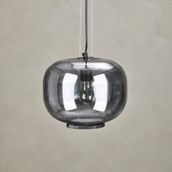 Hängelampe Tesme aus grau gefärbter Glaskugel Hängeleuchten Durchmesser 26 cm und Lampenschirm Höhe 23 cm