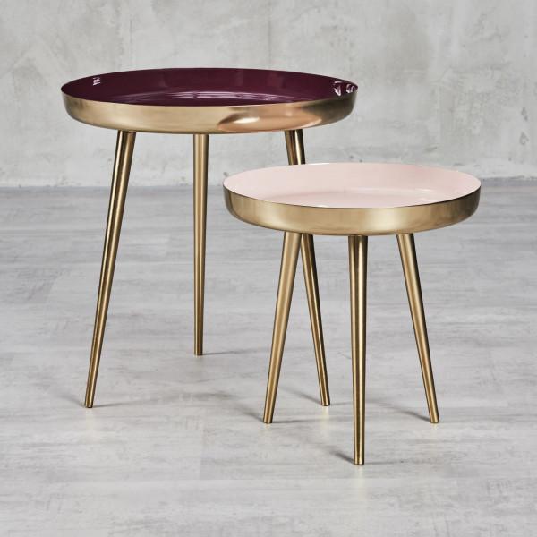 Isenna zwei Beistelltische im Set mit emailliert Aluminium-Tischplatten Farben Cream und Burgundy Beingestelle aus galvanisiertem Eisen dreibeinig Durchmesser 40 und 53 cm Höhe 40 und 53 cm