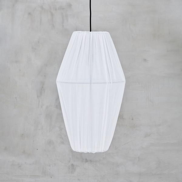 Hängelampe Tenjetta pulverbeschichtetes Eisengestell HÄNGELEUCHTE mit weißem Lampenschirm-Bezug aus 100% Baumwolle