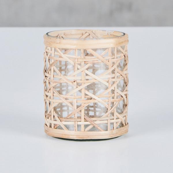 Windlicht Noamia aus Glas mit Rattangeflecht Teelicht Durchmesser 8 cm Höhe 10 cm