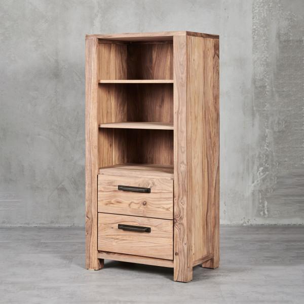 Standregal Jenko im modernen Design, mit Sheesham-Furnier, 2 Schubladen und 3 Fächern
