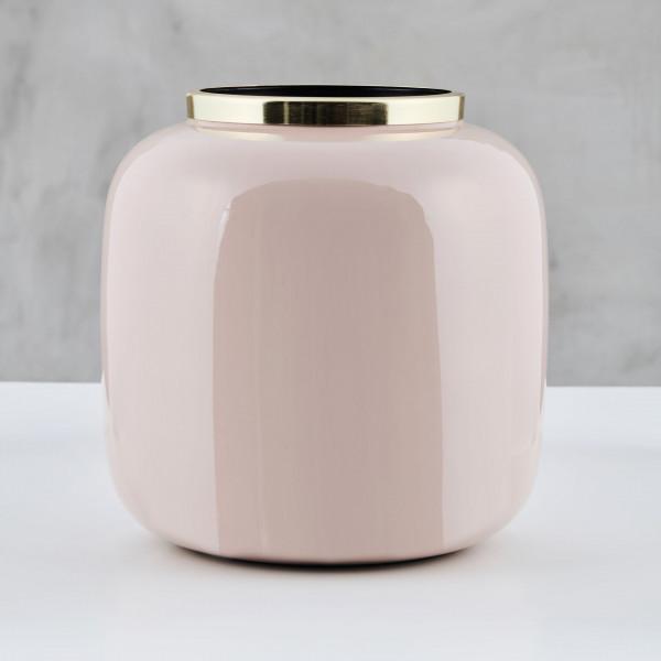 Vase Malit aus Eisen emailliert in Mahagony Rose und mit goldfarben galvanisiertem Rand Maße Durchmesser 25 cm Höhe 27 cm