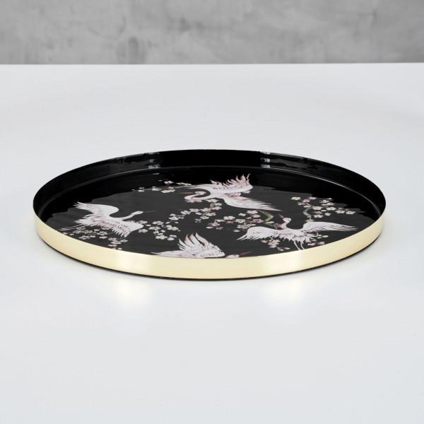 Mabelen Tablett Durchmesser 35 cm Serviertablett aus Eisen mit goldfarben galvanisiertem Rand und Innenfläche emailliert mit Kranichmotiv