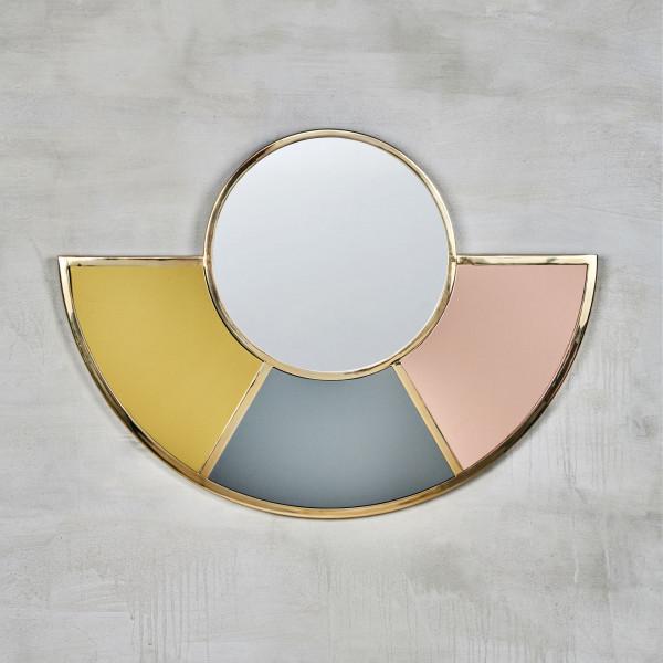 Spiegel Falabelle mit farbigem Bogen Farben Gold Silvergrey und Mahagony Rose Wandspiegel Gestell aus goldfarben galvanisiertem Eisen Höhe 63 cm Breite 86 cm Tiefe 1,5 cm