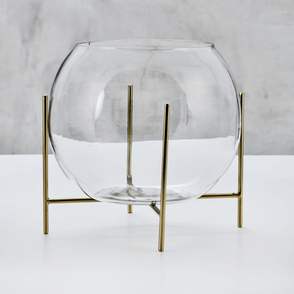 Blumenvase Balkina Glaskugel Vase Durchmesser 25 cm goldfarben galvanisierter Eisen Rahmen Höhe 25 cm