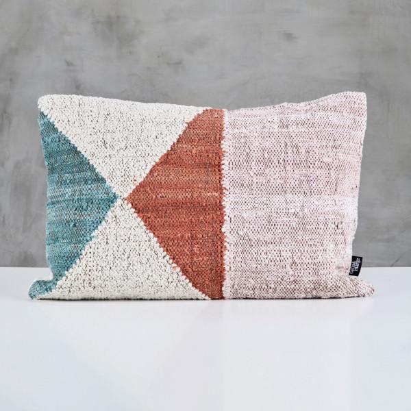 Wollkissen Puntabia Polster Boho Stil Kissen Ethno Muster Breite 60 cm Länge 40 cm handgewebter Bezug aus 80 % Wolle und 20 % Cotton