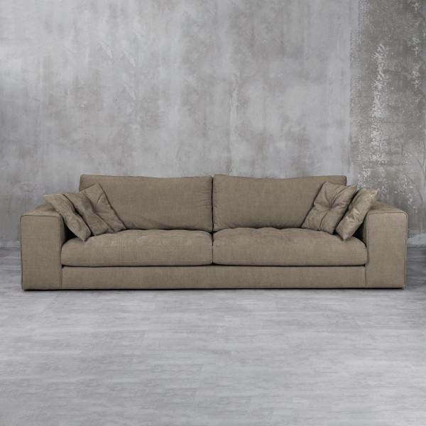 Couch Lasykka mit 4 Dekokissen  für 3 Personen Farbe Taupe Breite 260cm Schaumstoff Polsterung und Wellenunterfederung Sofa mit Bezug aus 92 % Polyester  8 % Viskose