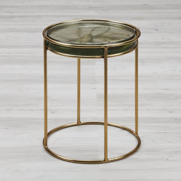Beistelltisch Liballola Couchtisch im Art-Déco Stil Gestell mit Libellen Design aus goldfarben galvanisiertem Eisen Durchmesser 30 cm Höhe 40 cm Tischplatte Glasplatte Höhe 5 cm